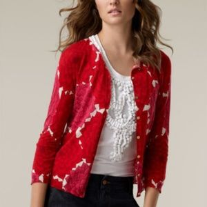 Tory Burch Red & Pink Floral Cardigan XS